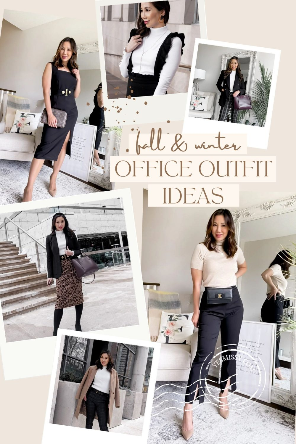 Fall and winter workwear and office outfit ideas for women. Styled by Canadian fashion blogger Eileen Lazazzera. Check out yesmissy.com for more fall outfits, going out looks, trends and styling tips.