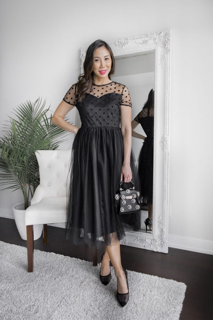 Party outfit ideas - Polka dot mesh dress with tulle skirt