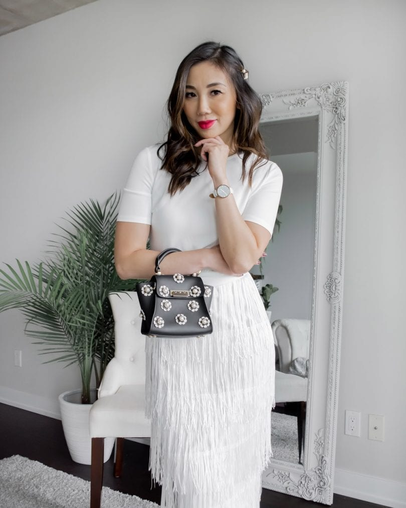 Party Outfit Ideas- White dress with fringe pencil skirt