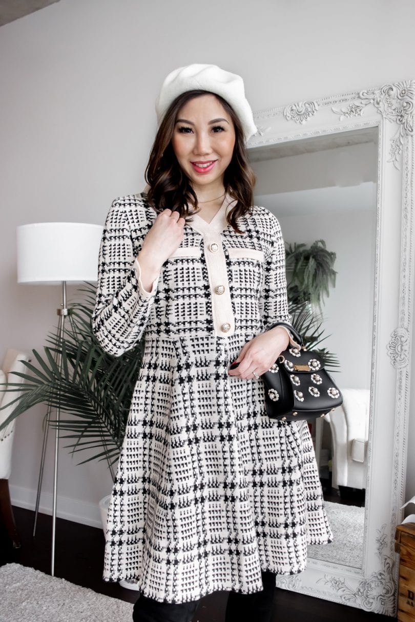 Fall / Winter #OOTD - Checkered sweater dress and beret