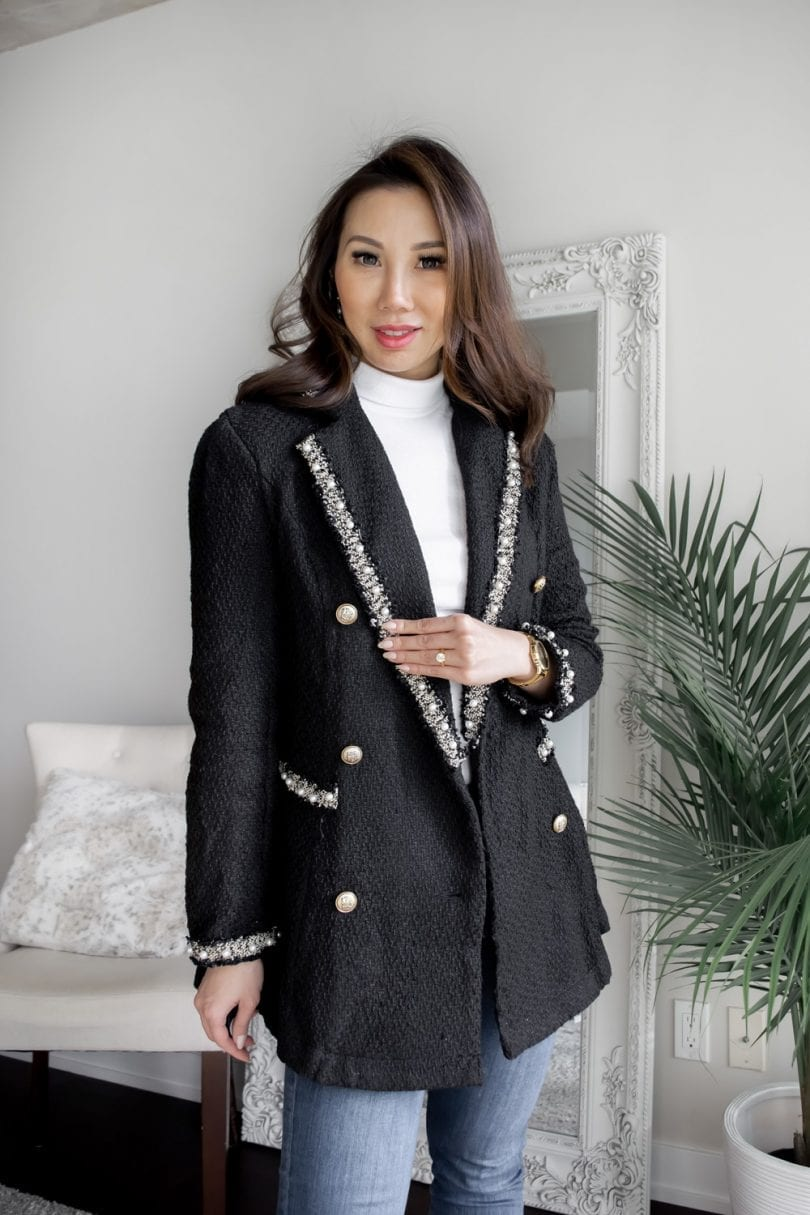 Workwear OOTD - Fall/Winter look with black blzer with pearls with jeans