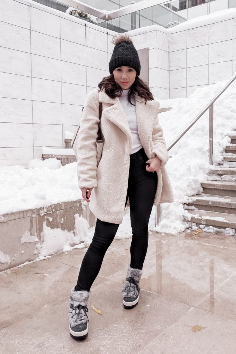 Snow day winter outfit - Teddy bear coat and winter boots from Cougar shoes