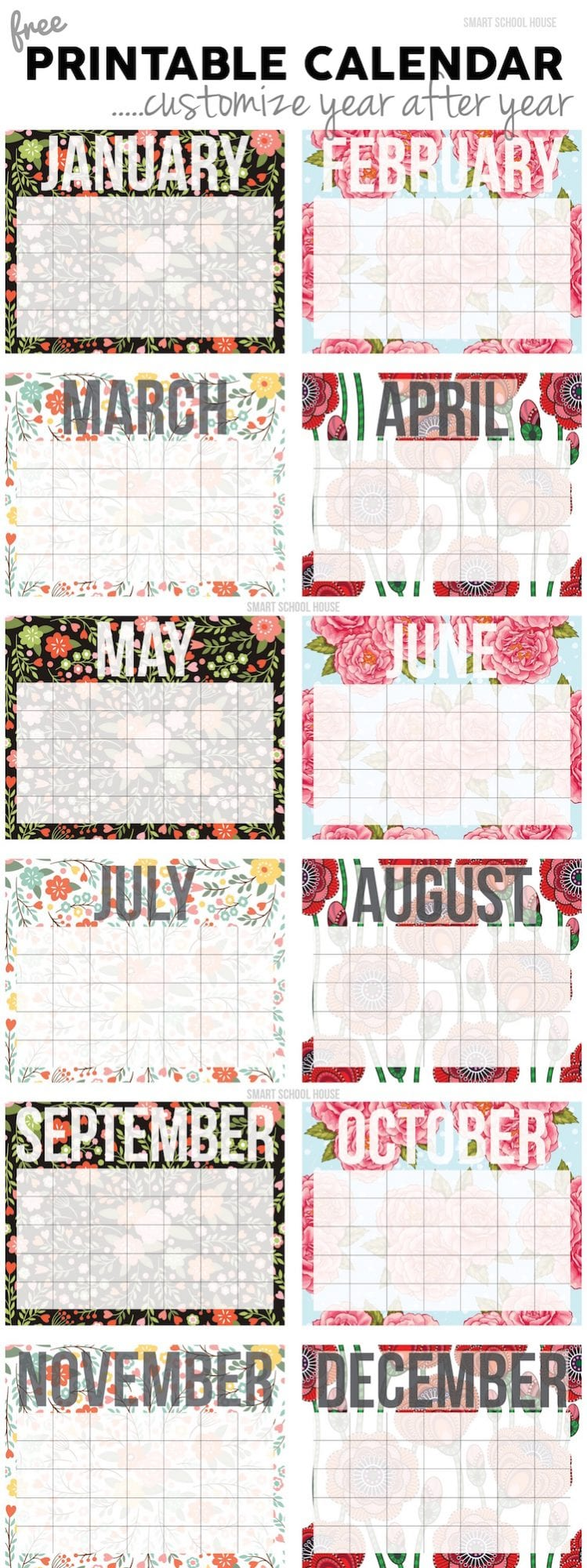 Customizable Calendar Printout to download with ability to customize!
