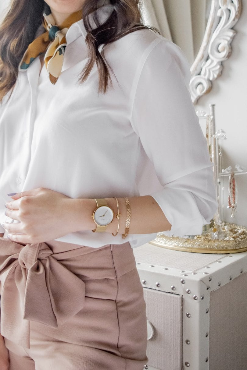 Lifestyle Blogger Eileen Lazazzera styles the Nordgreen Infinity Watch with a white blouse and pink ants