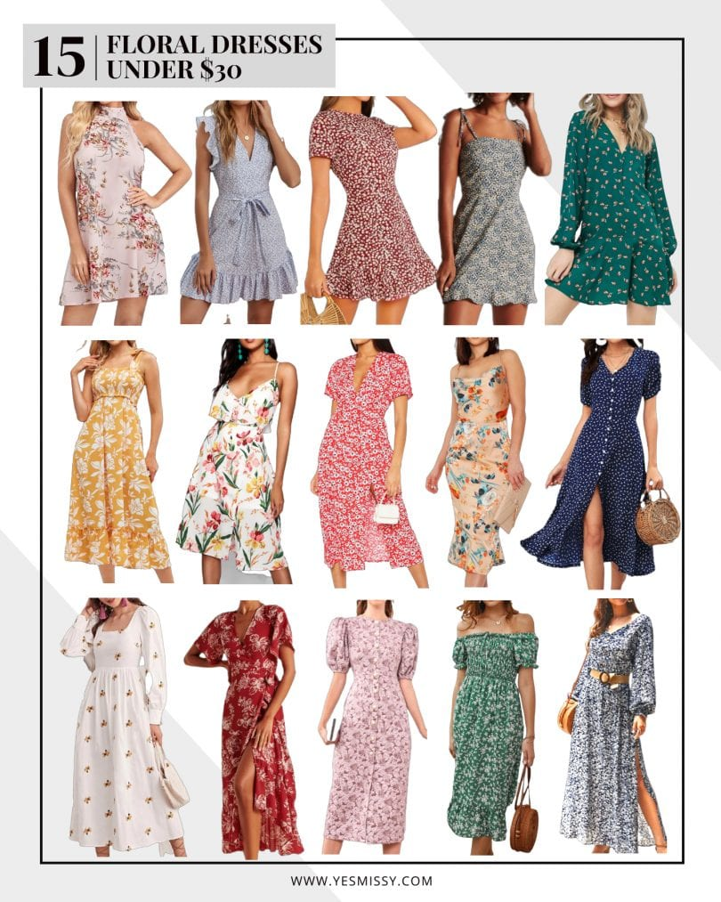 Some great floral dresses at affordable prices points! Floral mini dresses, midi floral dresses and maxi floral dresses all under $30