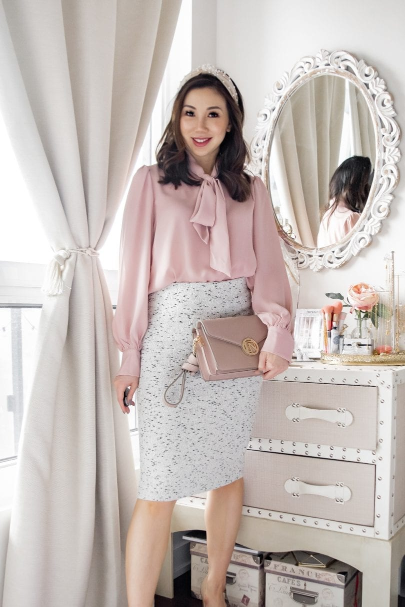 Office outfit ideas: pink blouse with bow and grey pencil skirt with headband