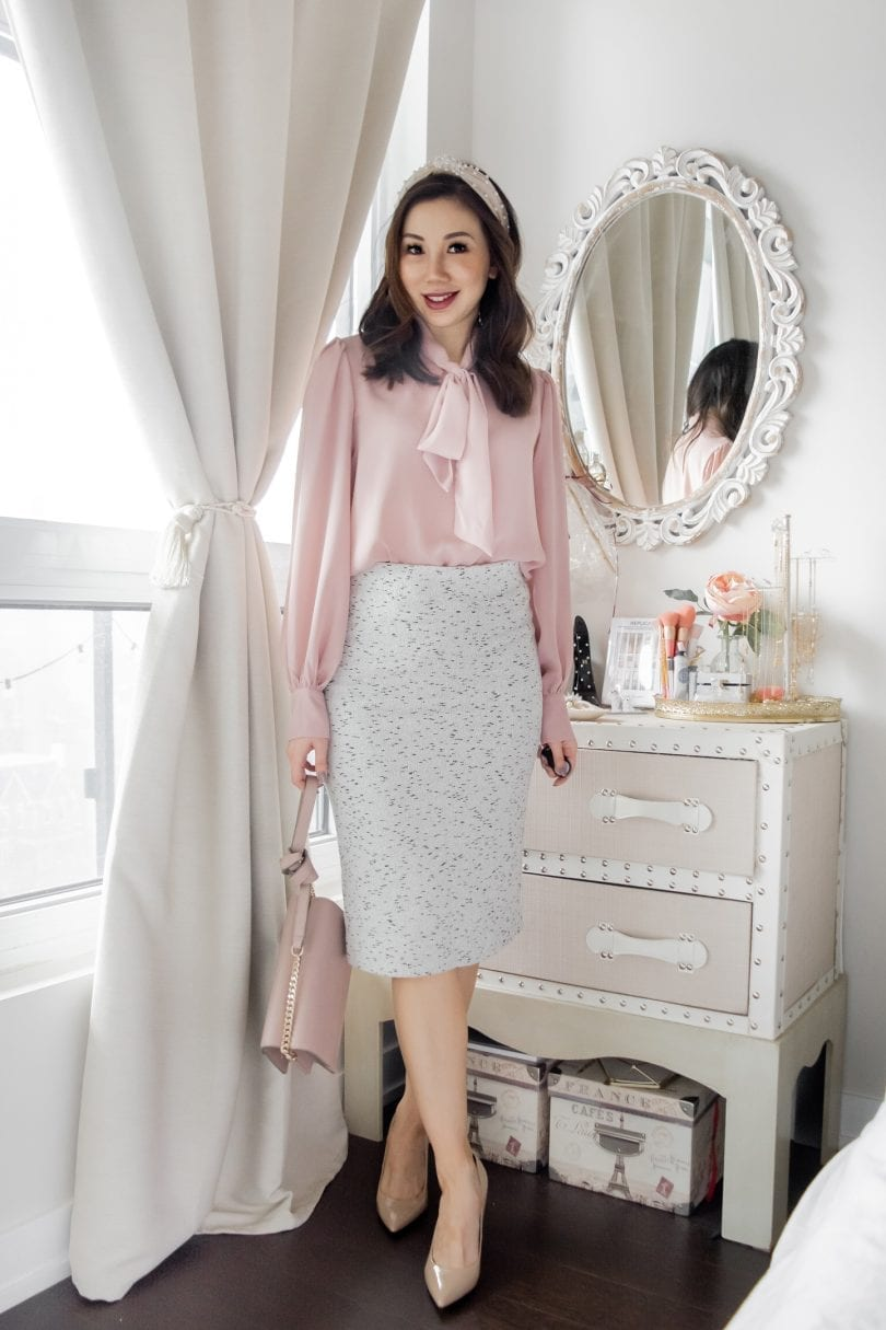 Office outfits for Spring - Pink blouse, grey pencil skirt, pearl headband and nude pumps styled by Canadian Blogger Eileen Lazazzera of YesMissy