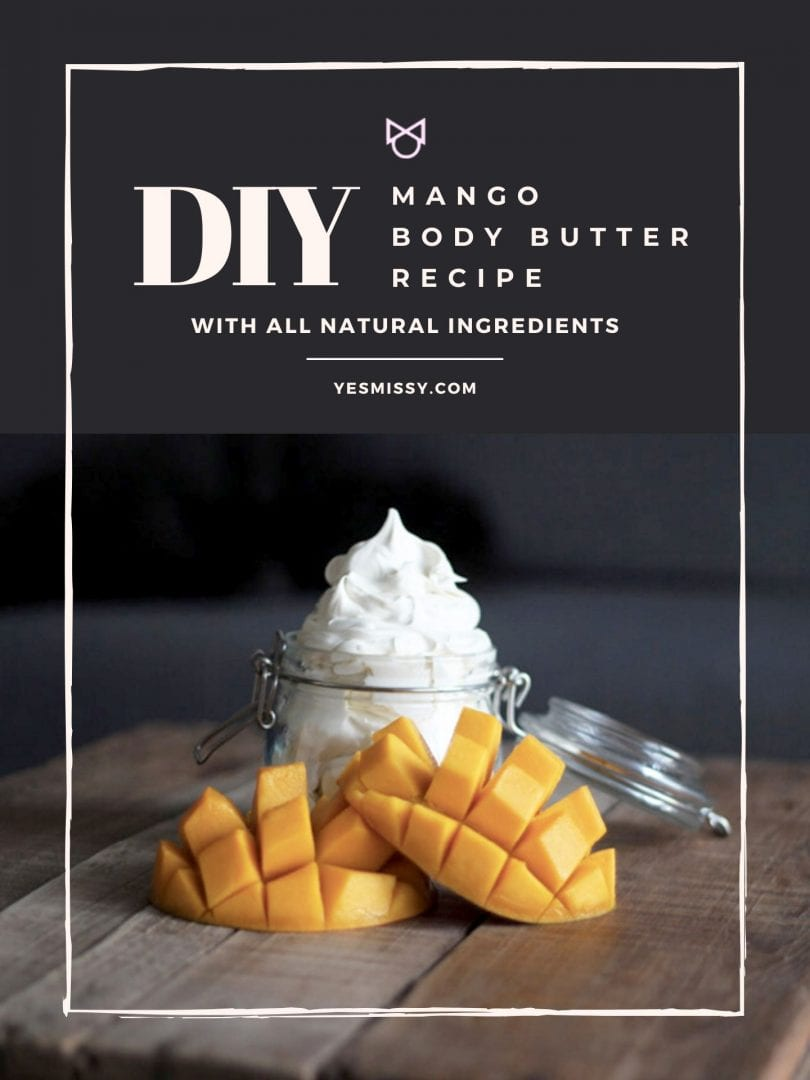 Follow this recipe to make your own homemade body butter with shea butter, mango butter and almond oil. Visit yesmissy.com for the full tutorial!