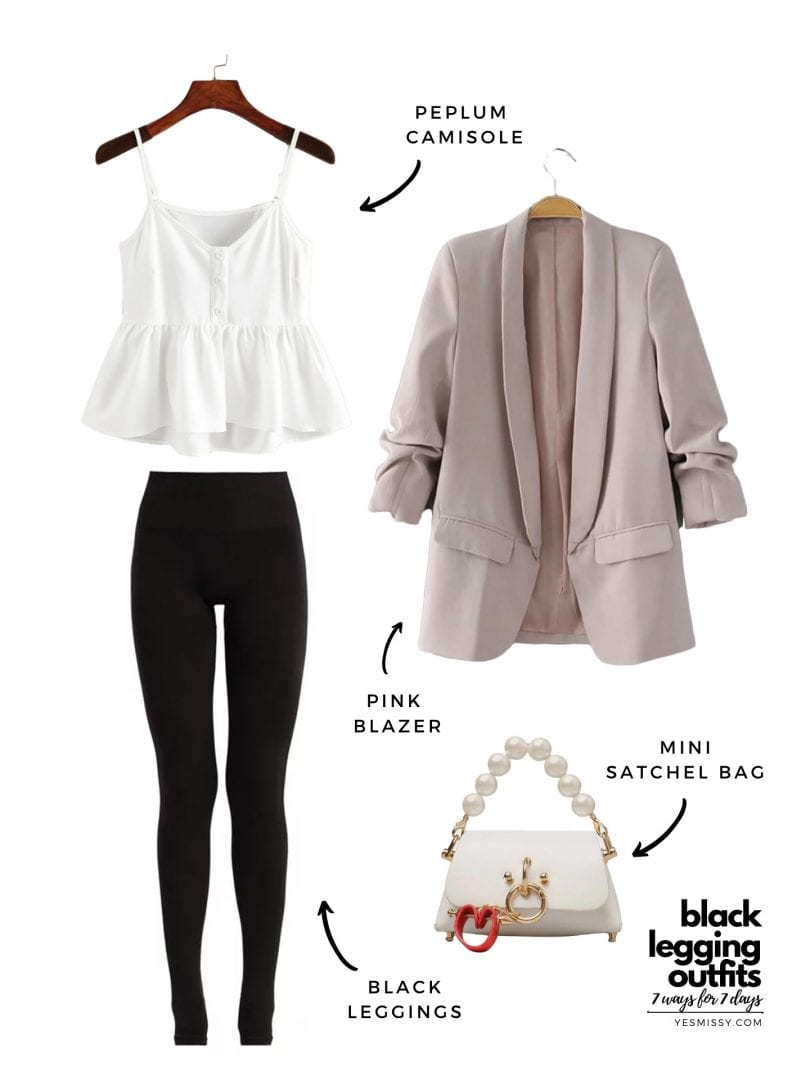 black legging work outfit with blazer