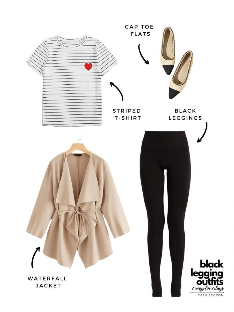 black tights outfits for the weekend: striped t, cap toe flats and camel jacket