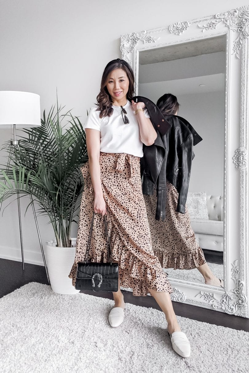 5 white t-shirt outfits - tee with leopard midi skirt styled by fashion blogger Eileen Lazazzera of yesmissy.com