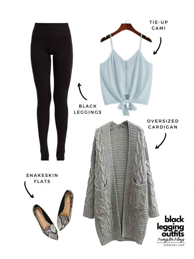 Casual look: Legging outfits for summer with oversized sweater and cami