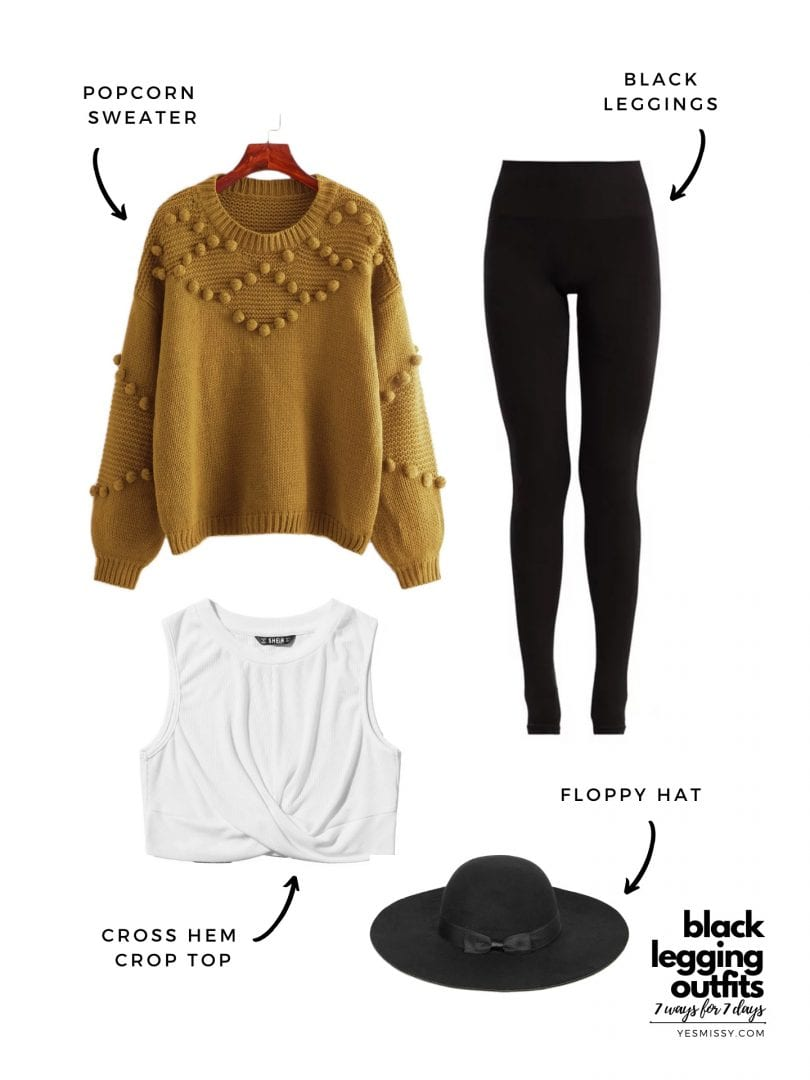 legging outfits for winter with cozy popcorn sweater and floppy hat
