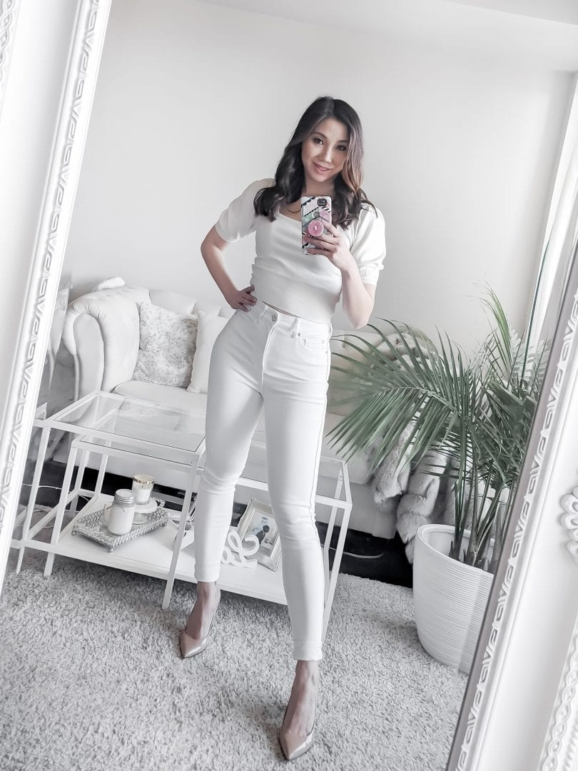 All white look with white jeans and puff sleeve top worn by Canadian lifestyle blogger Eileen Lazazzera of YesMissy.com