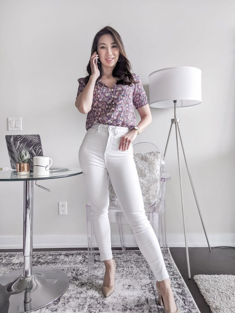 Workwear outfit ideas for summer: how to wear white jeans to the office, pair it with a floral top from Evernew styled by Canadian lifestyle blogger Eileen Lazazzera of YesMissy