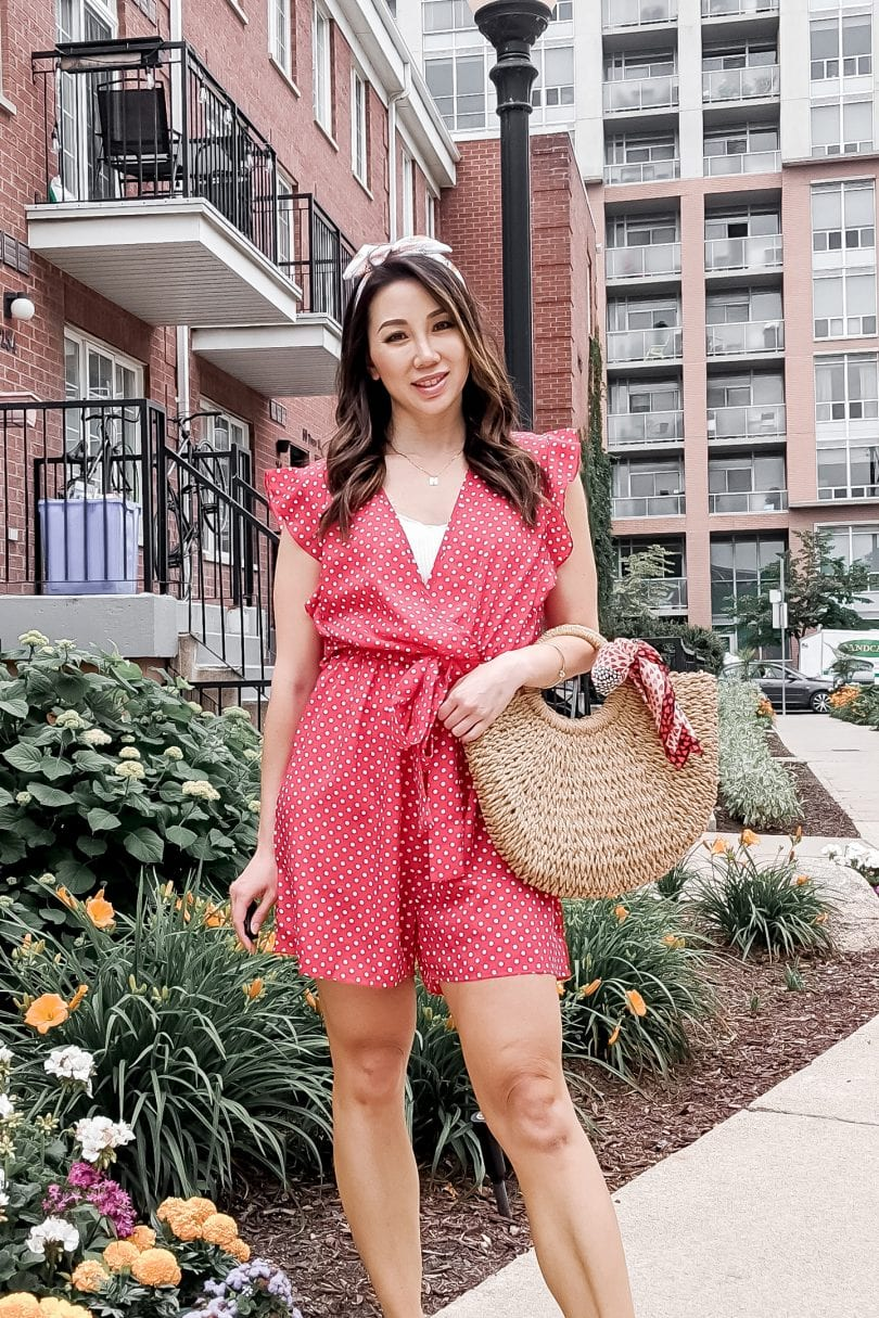 Summer outfit inspiration: Red polkadot romper is a cute summer look for casual days in the sun! This polka dot romper is from Zaful, a store similar to SHEIN