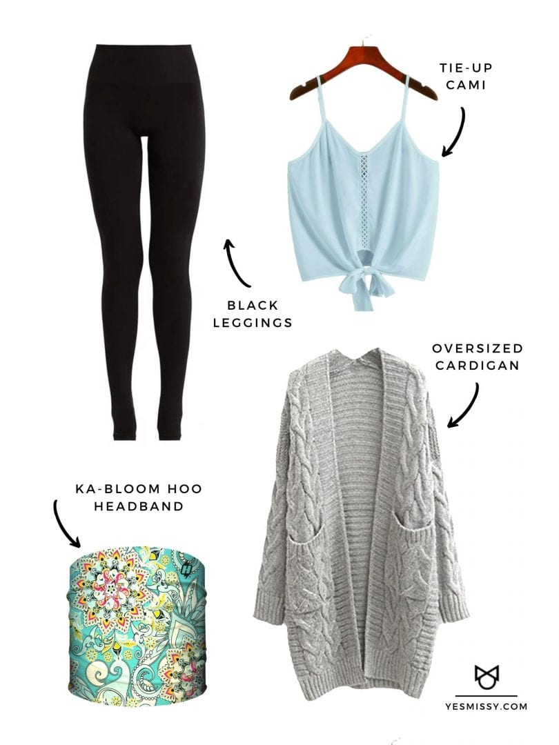 Casual outfit with leggings, sweater and floral print headband