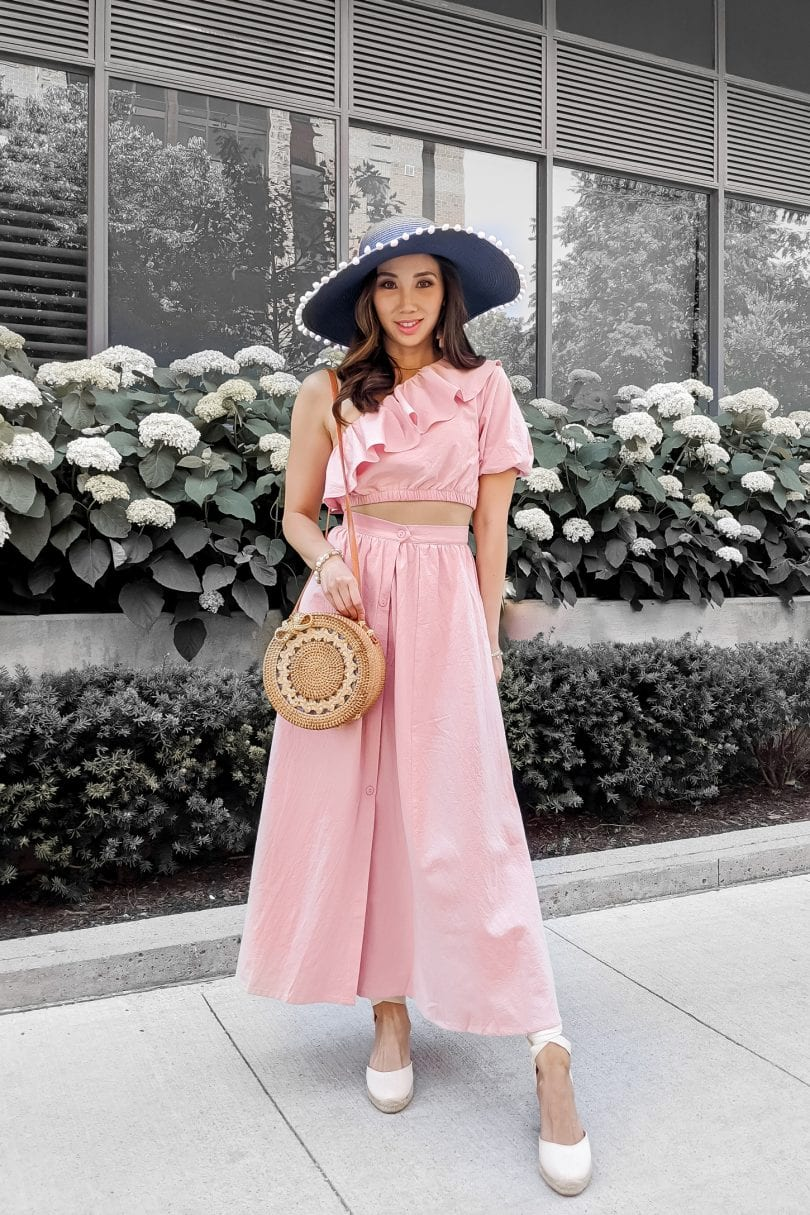 Pink 2 piece set with ruffle top and skirt styled by Eileen Lazazzera of YesMissy