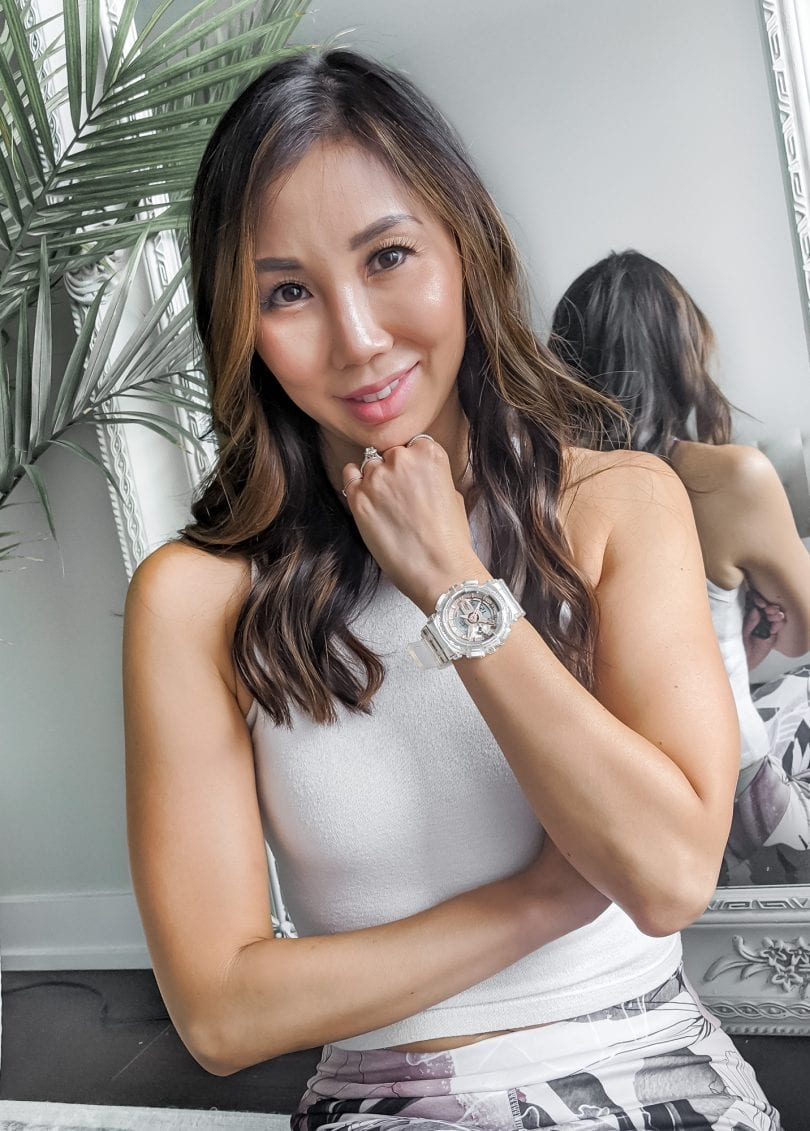 Eileen Lazazzera of YesMissy wears the Casio G-Shock Watch from the Tranparent x Rose Gold Collection