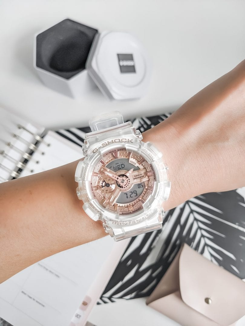 Watch review for Casio G-SHOCK Transparent x Rose Gold Watch by Eileen Lazazzera of YesMissy Lifestyle Blog