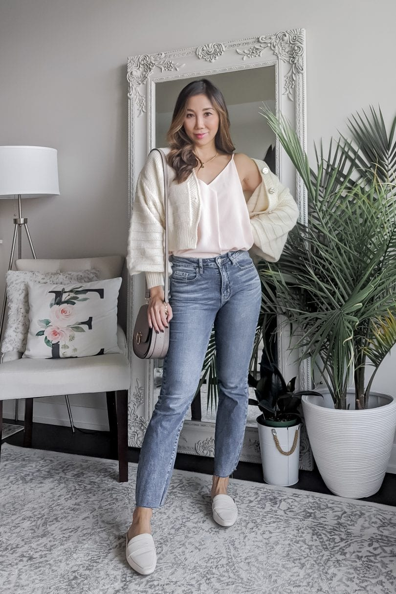 What shoes to wear with cropped jeans: Option #1 mules are great option as they show off a little ankle and lengthen the legs