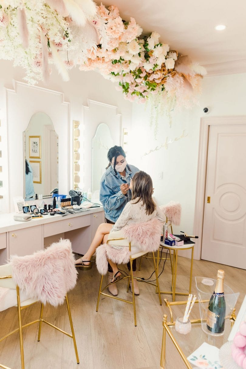 Getting glammed up at the Fancy Face Rosé Room