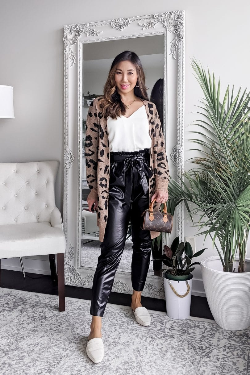 Fall outfit ideas - Faux leather jogger pants with leopard cardigan and loafter mules style by Eileen Lazazzera of yesmissy.com