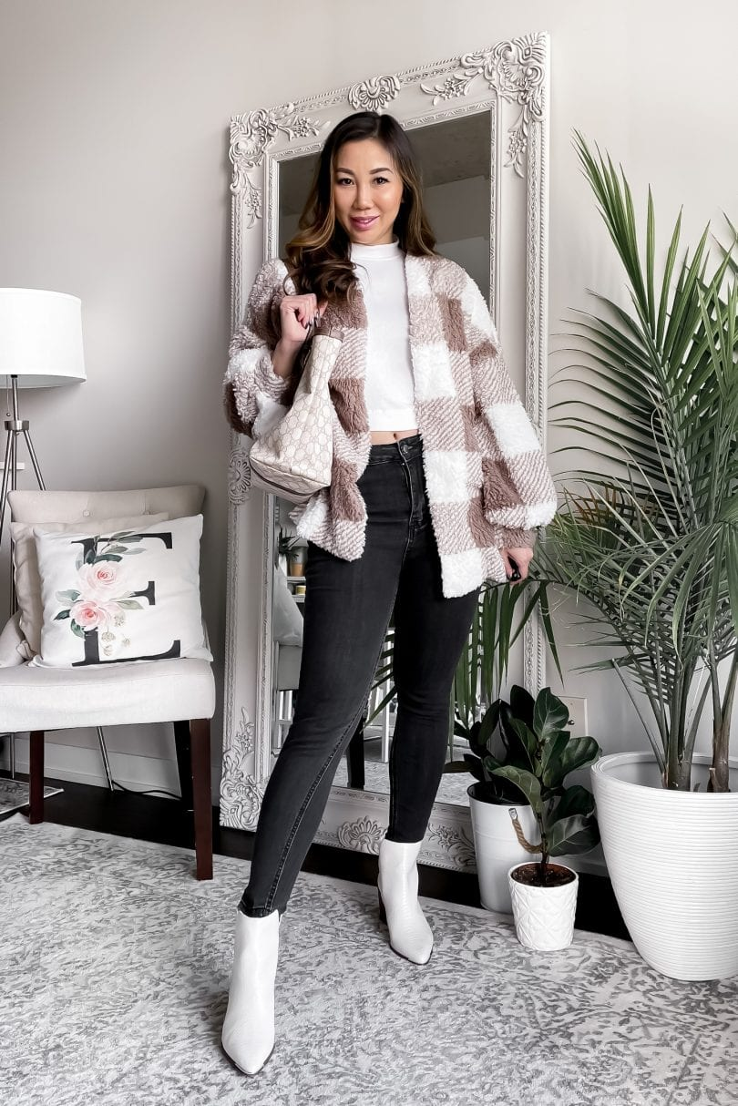 Cute fall outfits for school - checkered teddy bear coat and black jeans with white booties. Styled by Eileen Lazazzera of yesmissy.com