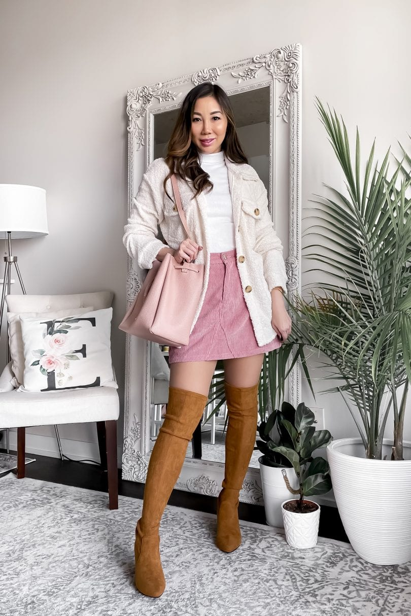 Cute fall outfit ideas - with OTK boots, corduroy skirt and shacket. Styled by Eileen Lazazzera of yesmissy.com