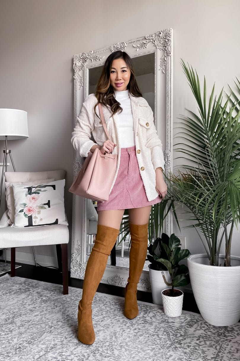 Fall outfit ideas for layering - shacket, OTK boots and cord skirt. More on yesmissy.com
