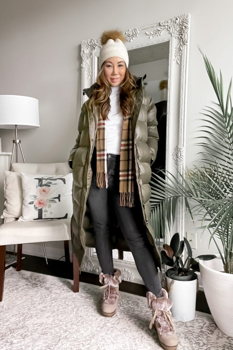 Casual winter look - long puffer coat with fur boots, scarf and beanie styled by Eileen Lazazzera of YesMissy