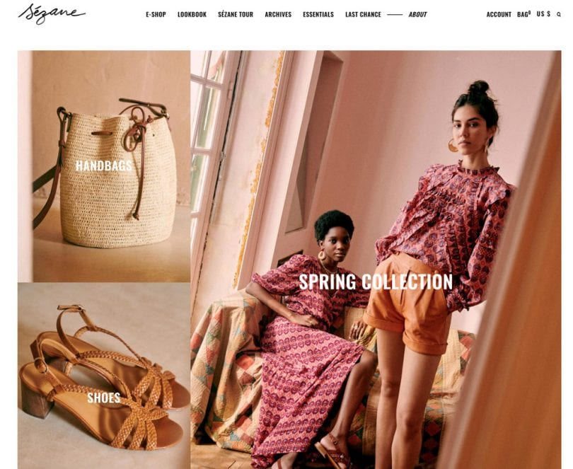 Sézane sells french designed sustainable clothing online. Their clothing has a timeless quality and are made to last.