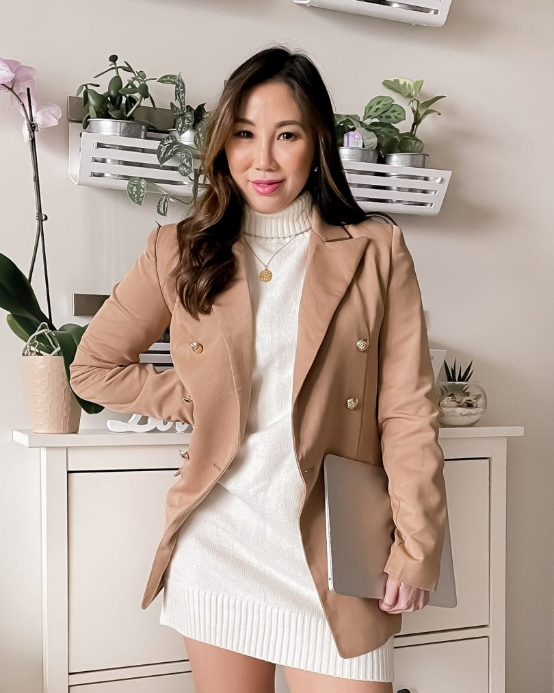 A camel blazer is great wardrobe basic to have. It instantly dresses up any outfit and is a great layering piece as well!