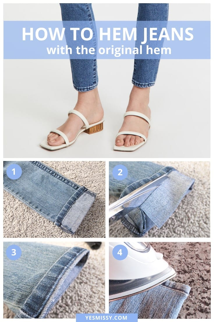 A complete guide on how to hem your jeans with the original hem. From deciding the correct hem length to the how to cut and hem them!