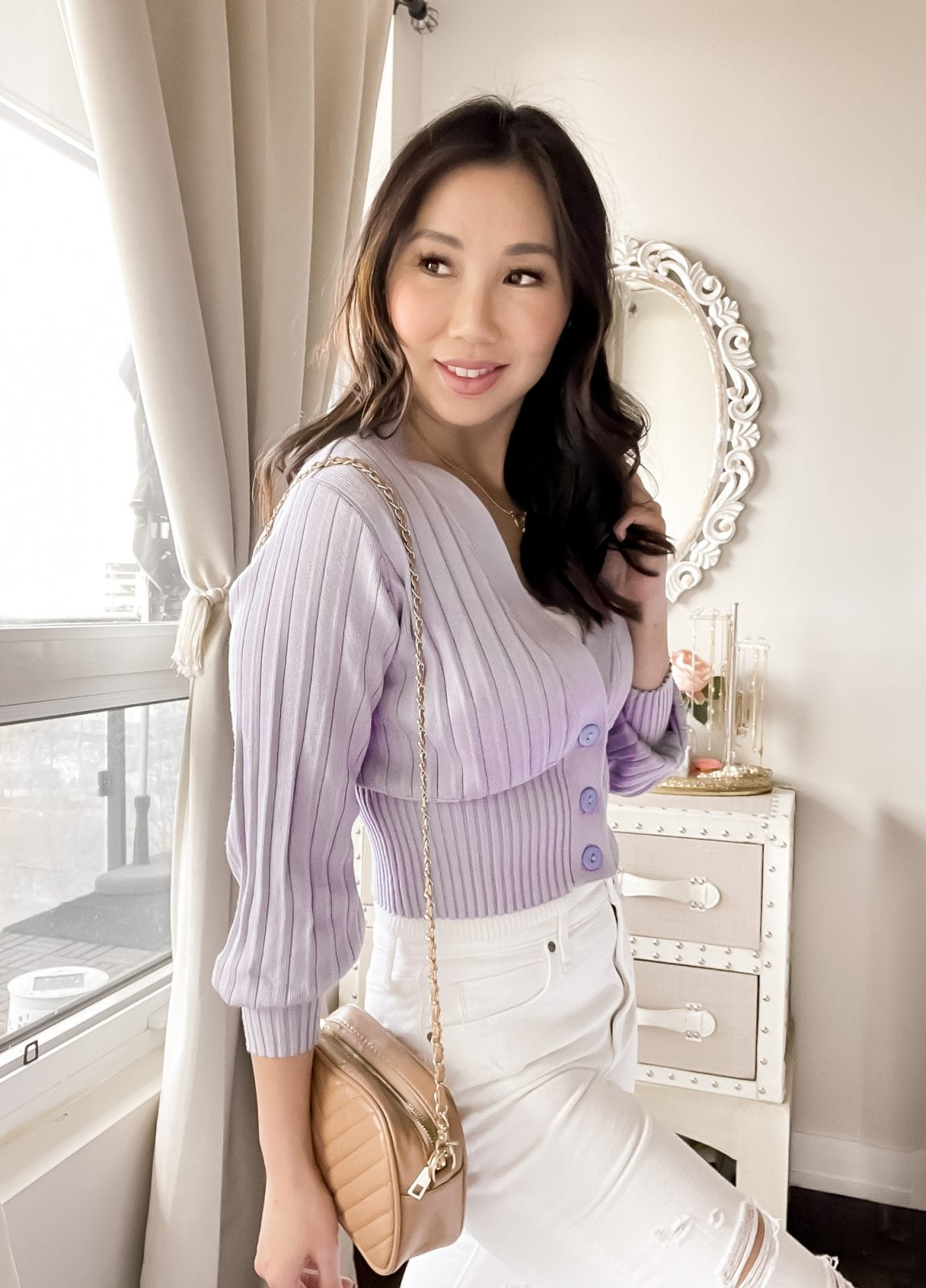 Spring/Summer OOTD: Cute lilac cardigan with white jeans styled by Eileen Lazazzera of yesmissy.com