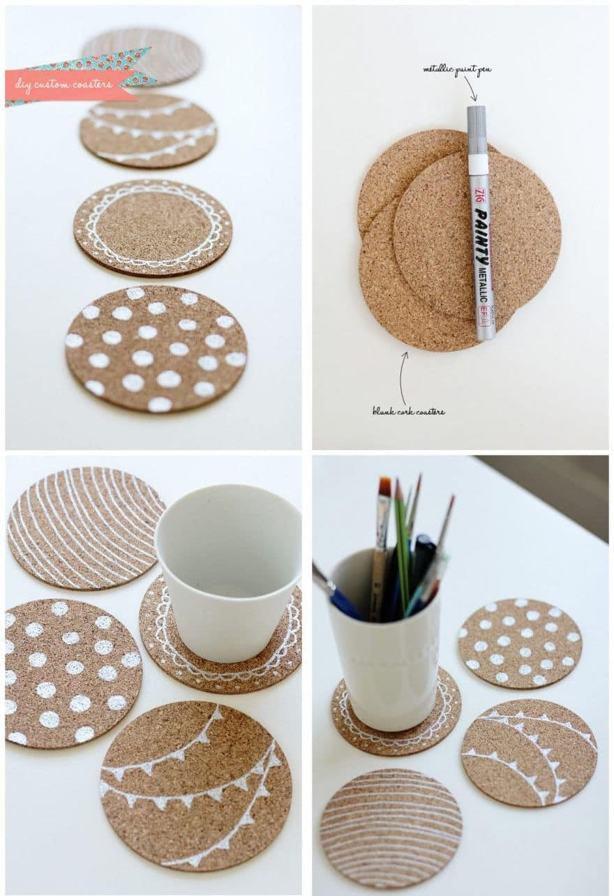 Give plain cork coasters get a make over with some fun patterns made by a Sharpie marker.
