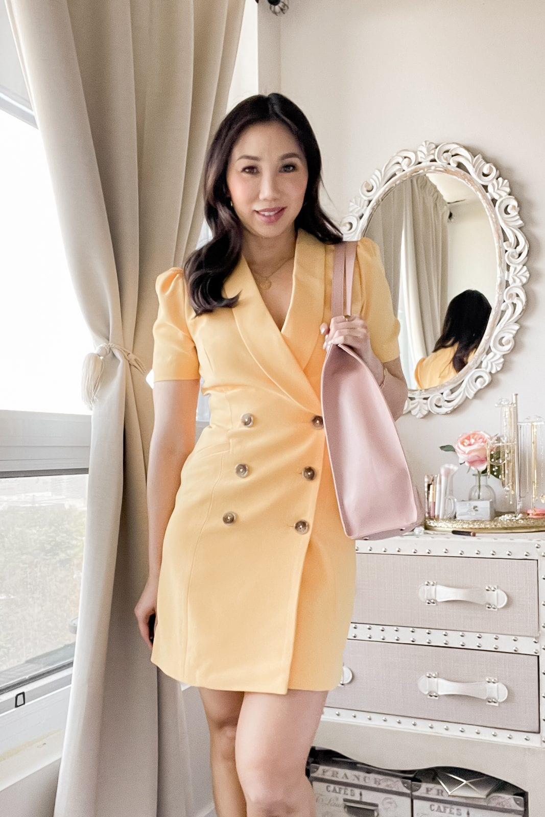 This chic blazer dress will take you from desk to dinner without missing a beat. Find more outfit inspiration at yesmissy.com
