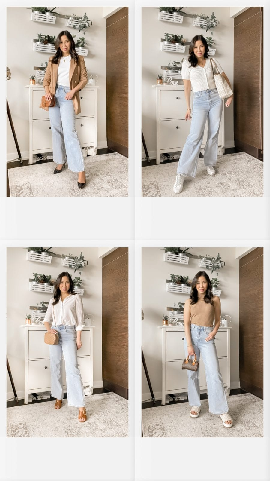 4 ways to style wide leg jeans for summer. From every day casual to workwear inspired. These 4 easy outfit ideas will have you loving the wide leg jeans trend!