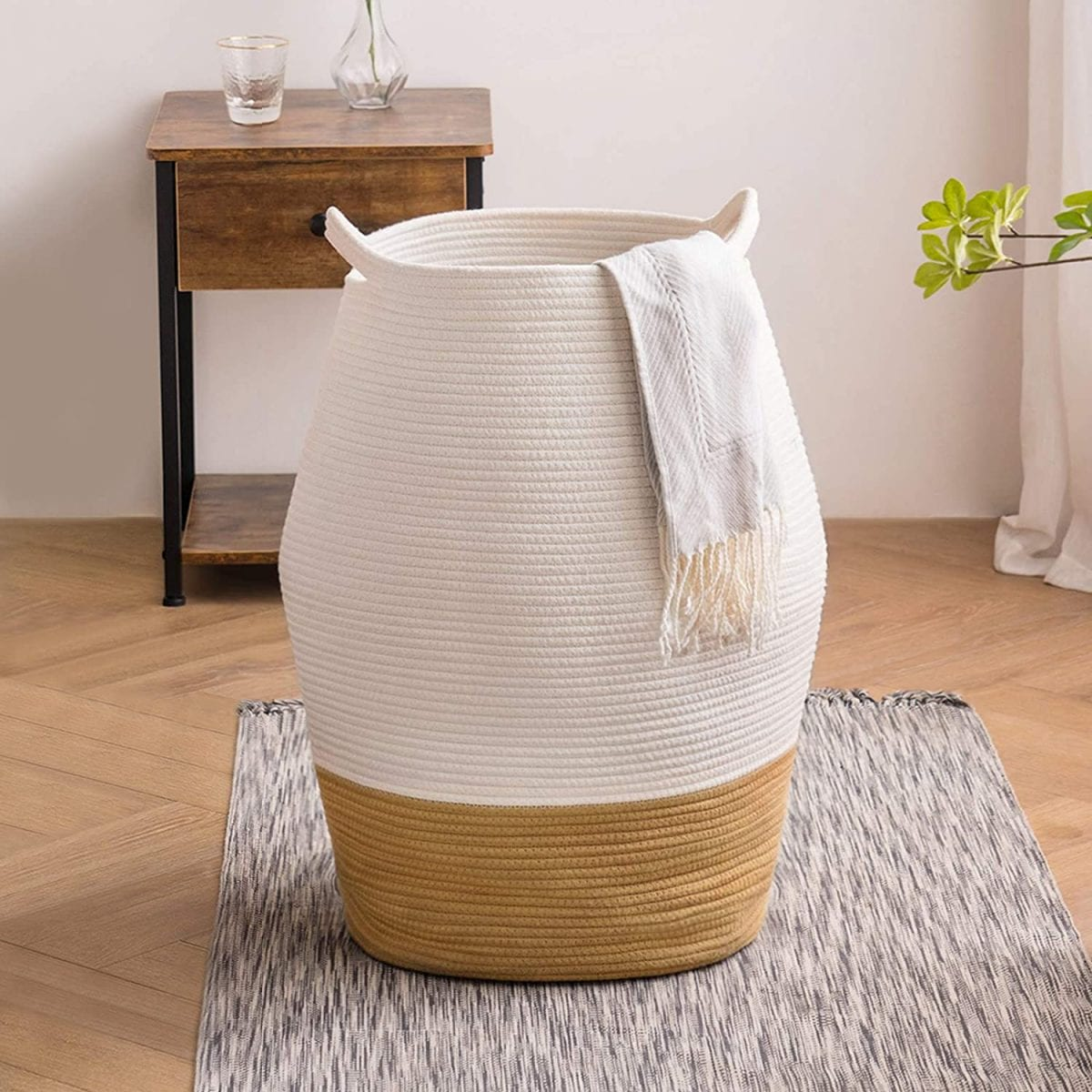 Two toned large woven basket - perfect for laundry, or storage and just $30 from Amazon! #amazonfinds