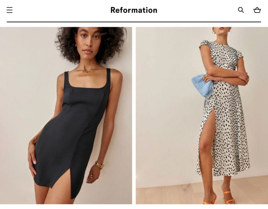 Reformation - sustainable clothing and dresses with classic and feminine style
