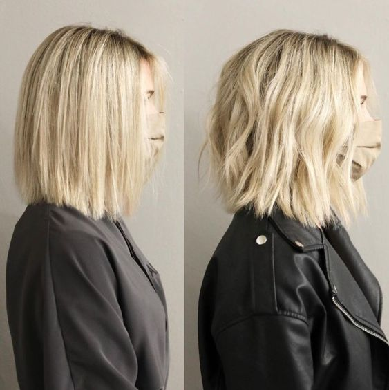 The lob remains one of the top picks among modern medium length haircuts for women. This choppy textured lob looks great straight or wavy!