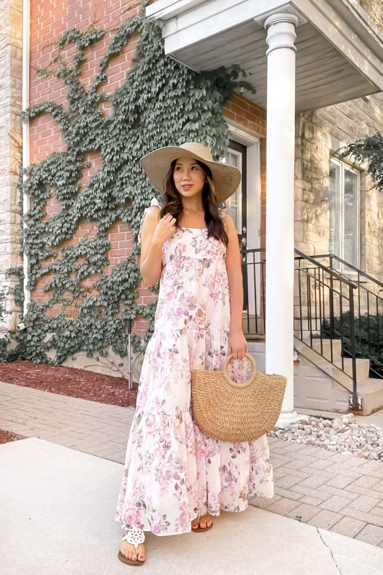Summer Outfit Ideas - flowy floral maxi dress with sandals and straw hat. Styled by Eileen Lazazzera of yesmissy.com