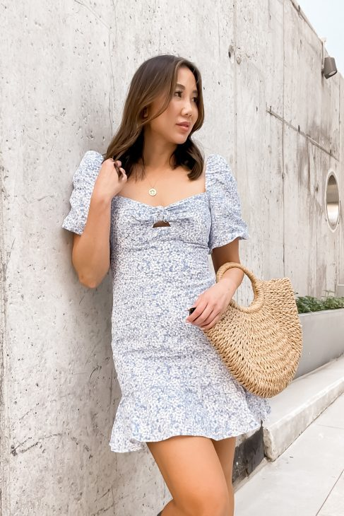 Favourite dress of summer! Blue milkmaid dress with floral print. See more summer outfits on yesmissy.com