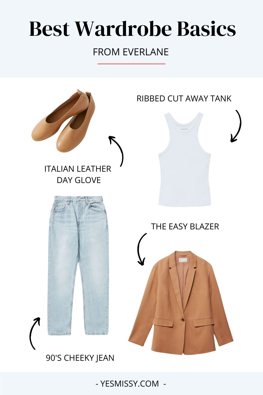 Best wardrobe essentials for women from Everlane - 90's cheeky jean, easy blazer, Italian leather glove flats, ribbed tank.