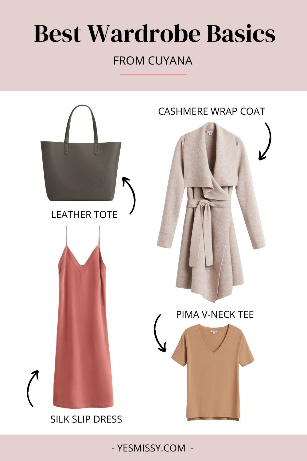 Cuyana is one of the best places to shop for basic wardrobe essentials for women. Their leather totes are a must have! And their clothing is classic and feminine.