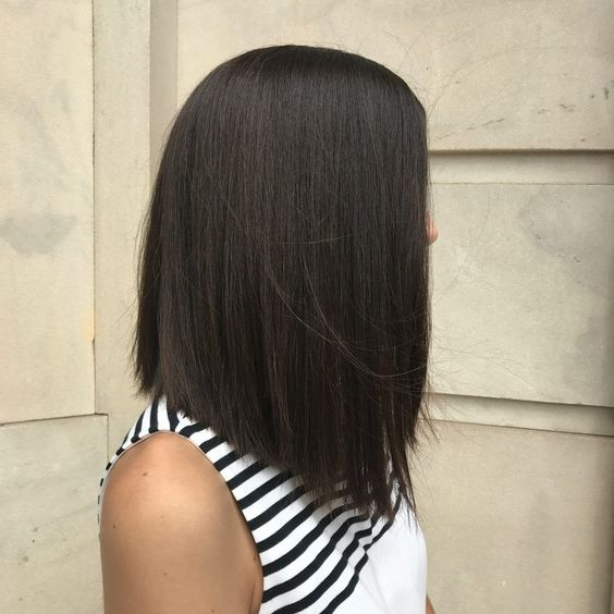 This long lob looks so chic and sleek with an angled cut!