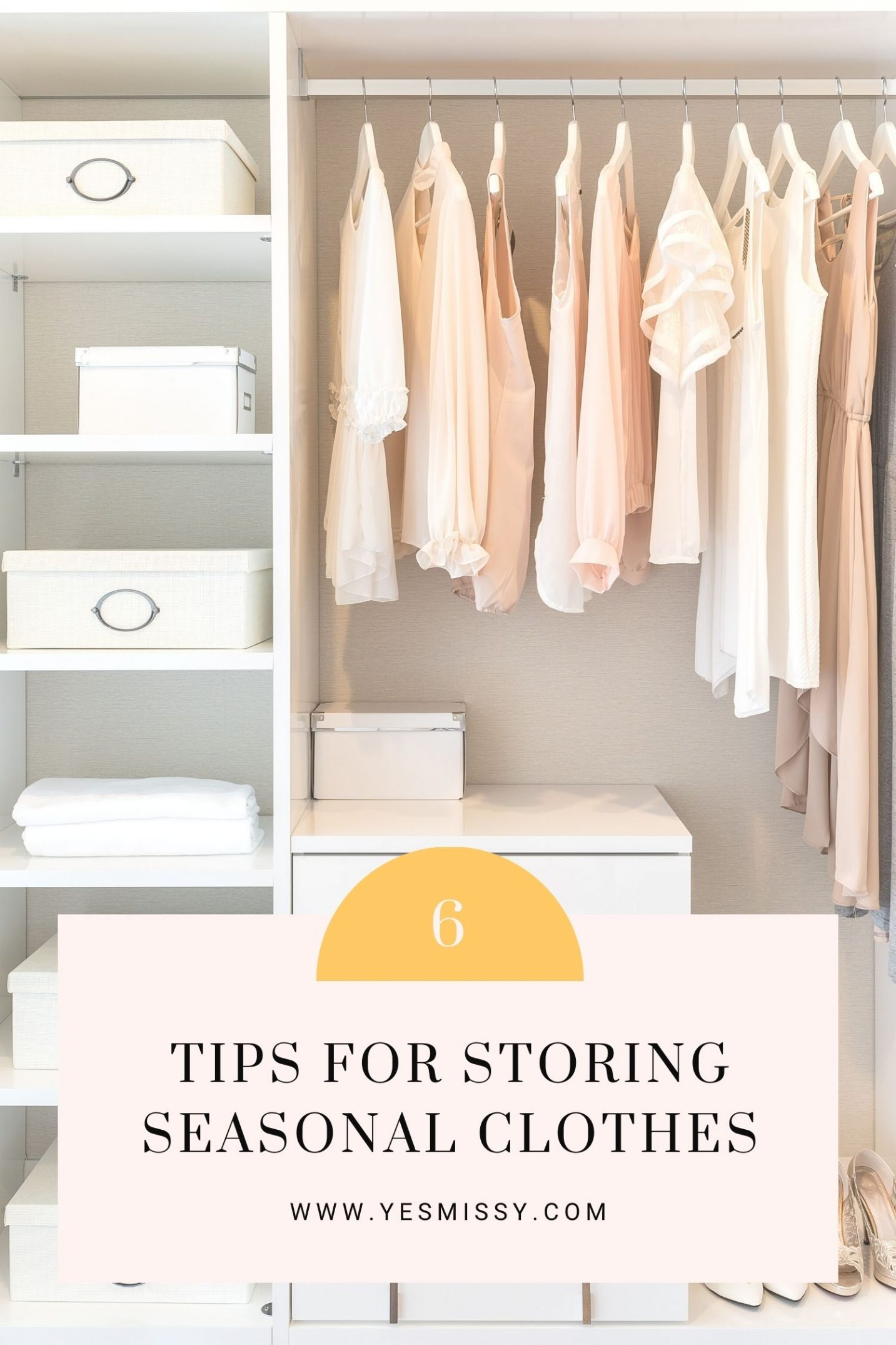 Declutter your closet by putting away seasonal clothes you're not wearing. Follow these 6 tips to store your clothes that are off-season for a more organized closet. More on yesmissy.com