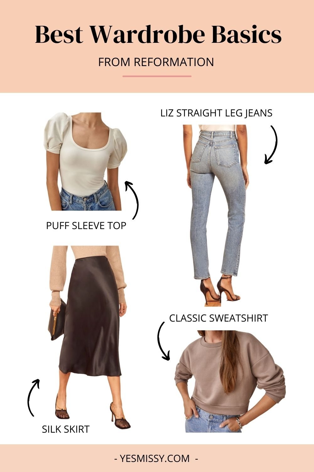 Reformation is a great place to shop the best basics for women like jeans, tops, skirts, and sweats.