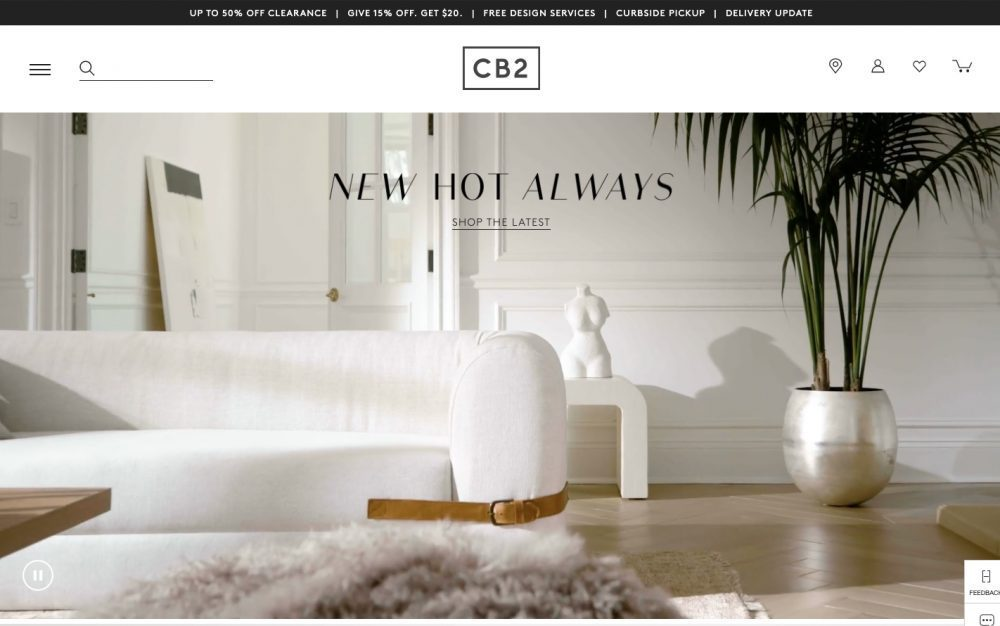 CB2 is a sister brand to Crate & Barrel   and carries chic, modern furniture, home decor and accessories.