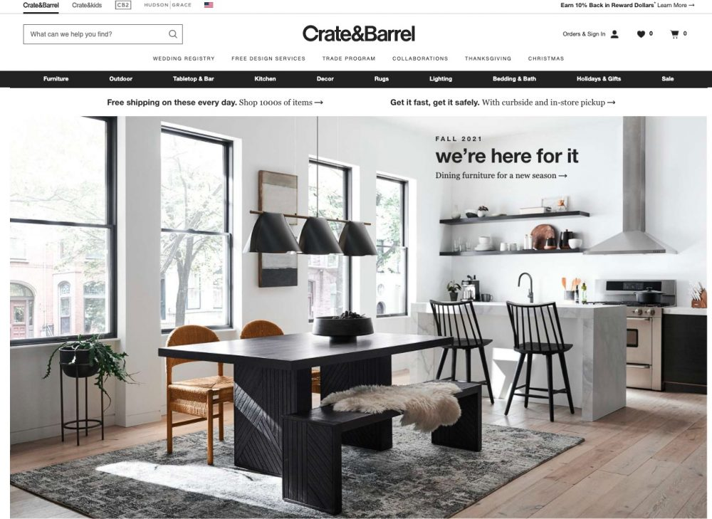 For modern yet times home decor, Crate & Barrel is store similar to Pottery Barn.